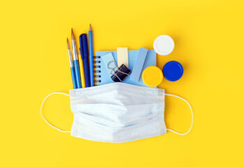 Set of education. school. freelance, office tools and medical face mask. Concept social distance, distance learning, home education, coronavirus, quarantine. Stay home, stay safe